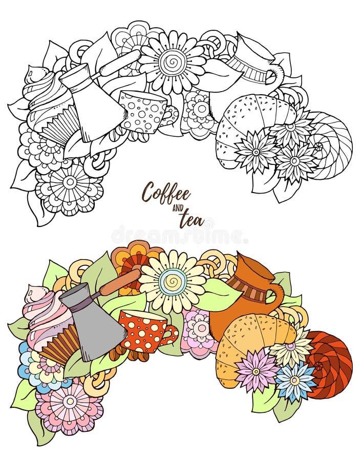Θέμα προγευμάτων Συρμένο χέρι σχέδιο τσαγιού και καφέ ελεύθερη απεικόνιση δικαιώματος