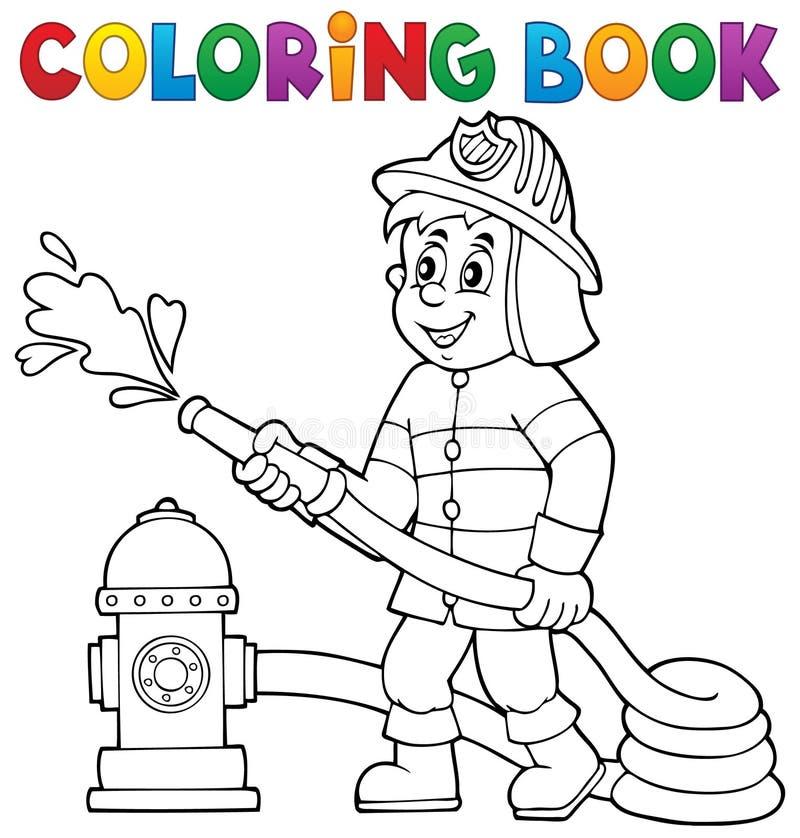 Θέμα 1 πυροσβεστών βιβλίων χρωματισμού διανυσματική απεικόνιση