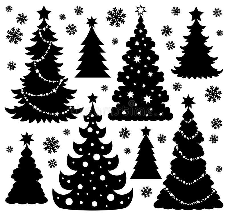 Θέμα 1 σκιαγραφιών χριστουγεννιάτικων δέντρων
