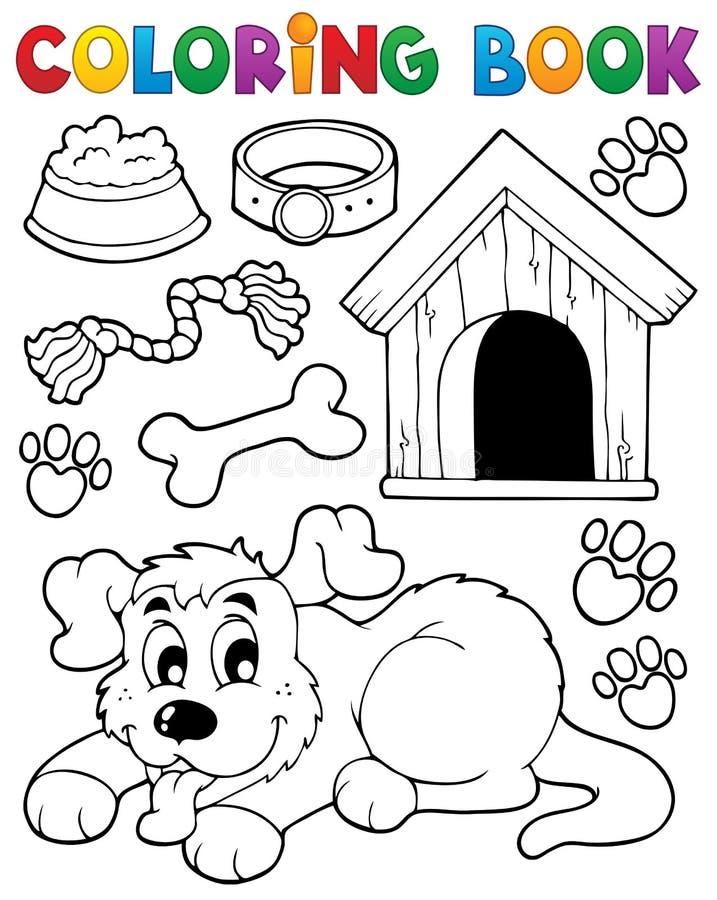 Θέμα 2 σκυλιών βιβλίων χρωματισμού διανυσματική απεικόνιση
