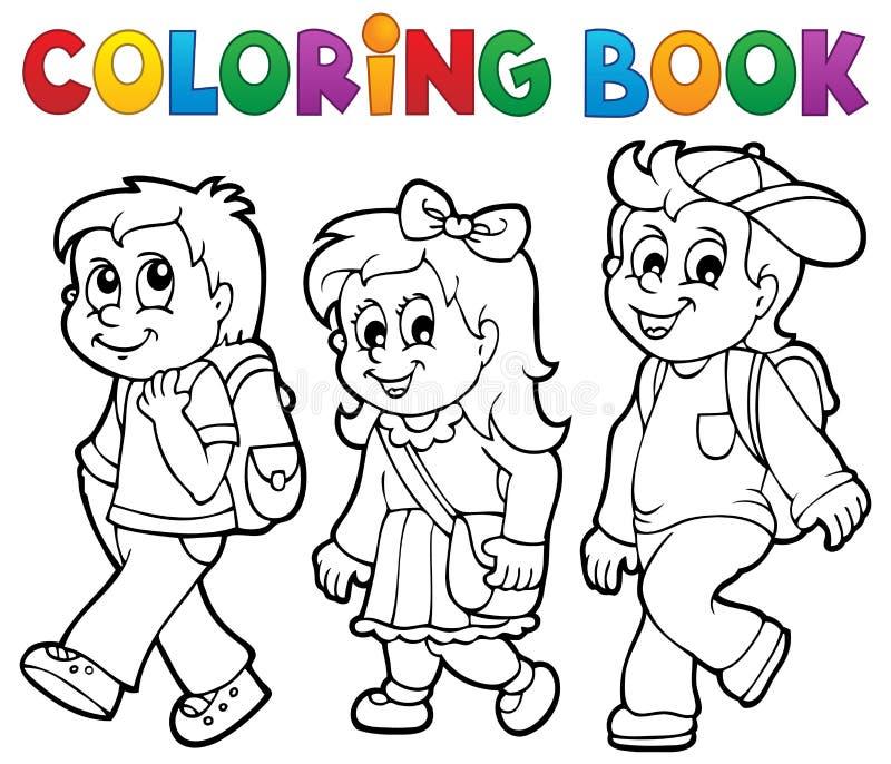Θέμα 2 σχολικών παιδιών βιβλίων χρωματισμού διανυσματική απεικόνιση