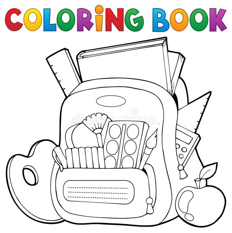 Θέμα 1 σχολικών τσαντών βιβλίων χρωματισμού διανυσματική απεικόνιση