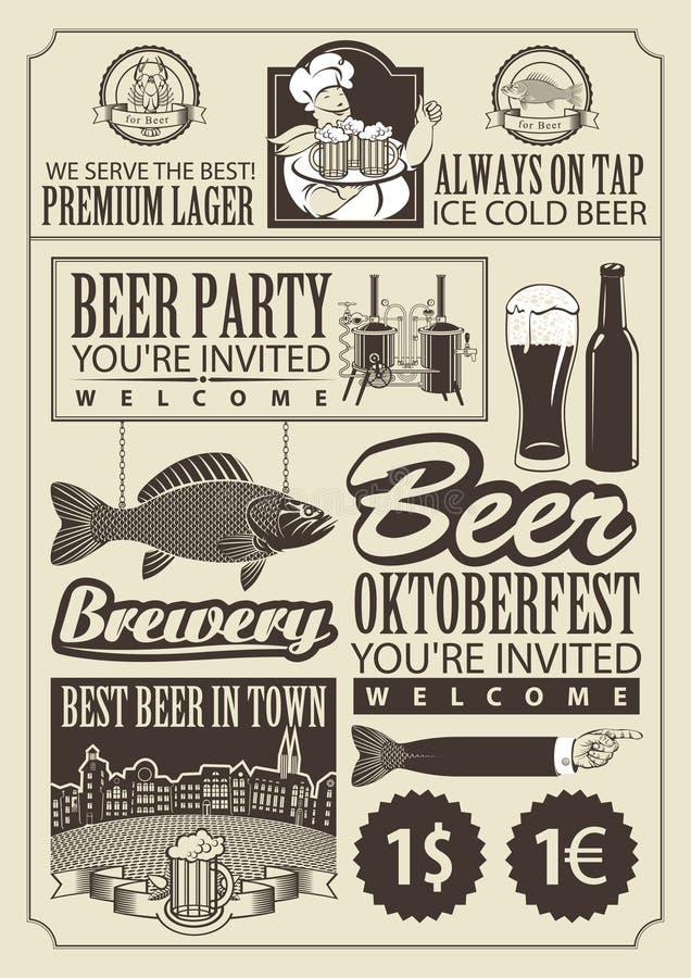 Θέμα της μπύρας διανυσματική απεικόνιση