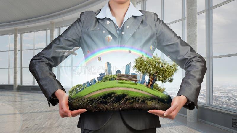 Θέμα του περιβάλλοντος και της σύγχρονης ζωής Μικτά μέσα στοκ εικόνες με δικαίωμα ελεύθερης χρήσης
