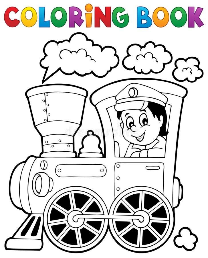 Θέμα 1 τραίνων βιβλίων χρωματισμού διανυσματική απεικόνιση