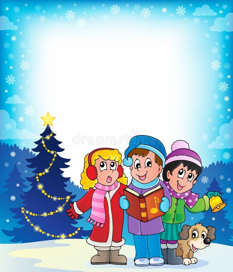 Θέμα 4 τραγουδιστών κάλαντων Χριστουγέννων απεικόνιση αποθεμάτων