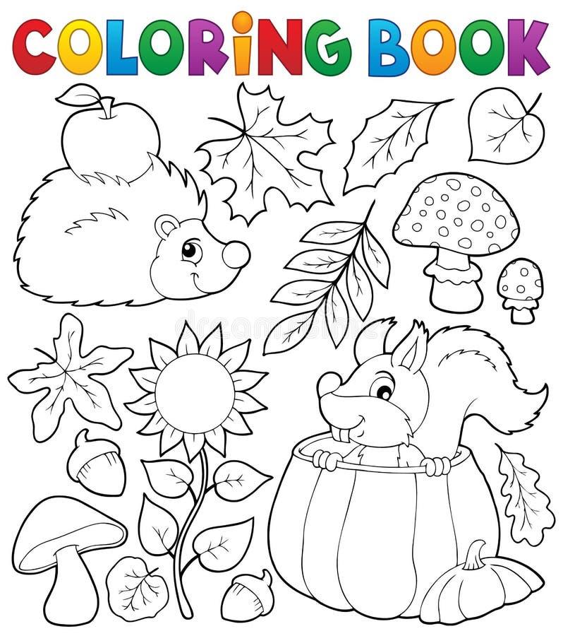 Θέμα 1 φύσης φθινοπώρου βιβλίων χρωματισμού διανυσματική απεικόνιση