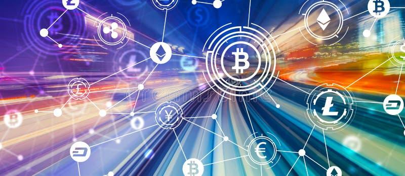 Θέμα Cryptocurrency με τη θαμπάδα κινήσεων υψηλής ταχύτητας ελεύθερη απεικόνιση δικαιώματος