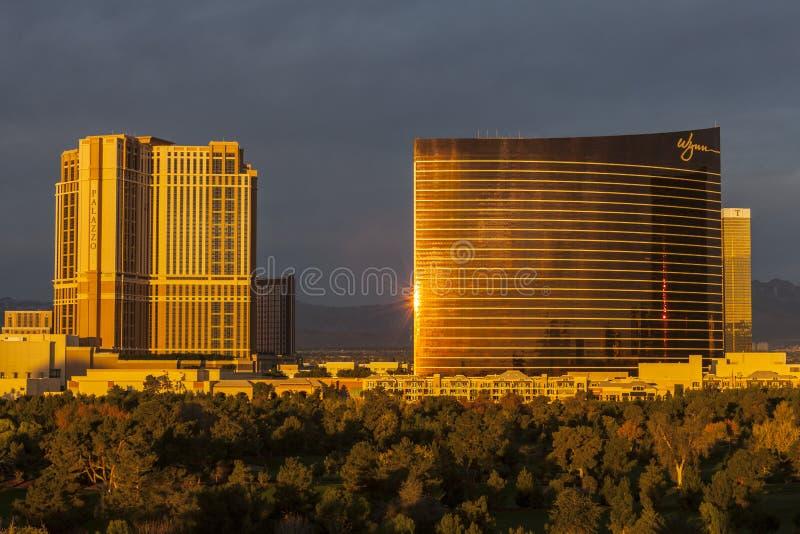 Θέρετρα ξενοδοχείων χαρτοπαικτικών λεσχών Wynn και Palazzo στο Λας Βέγκας στοκ εικόνες