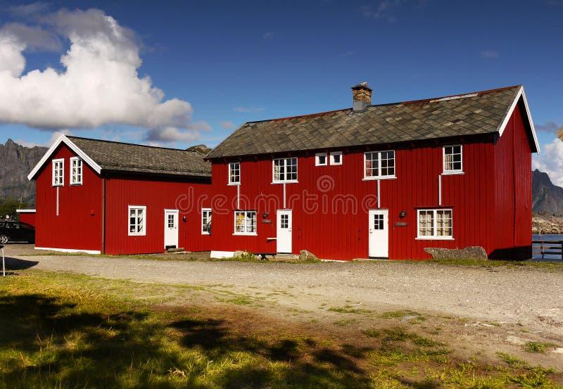 Θέρετρο διακοπών, χωριό Kabelvag, Lofoten στοκ εικόνα