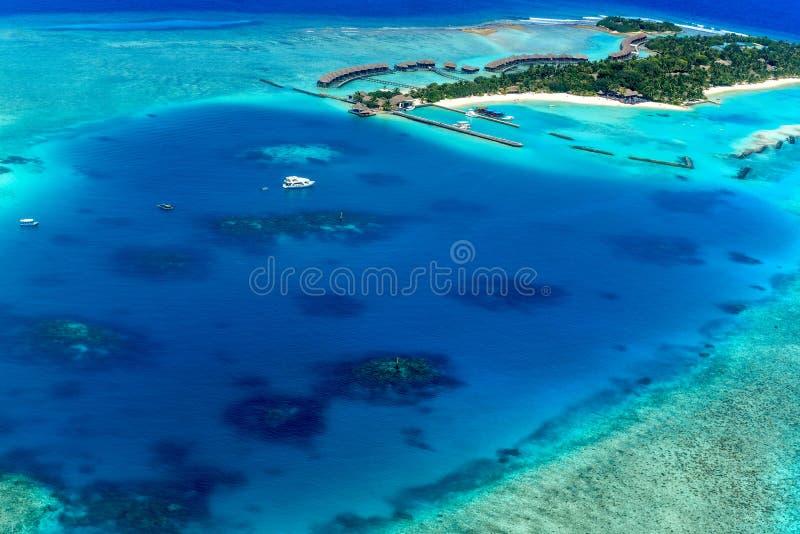 Θέρετρο νησιών πανσελήνων των Μαλδίβες Sheraton στοκ εικόνα με δικαίωμα ελεύθερης χρήσης