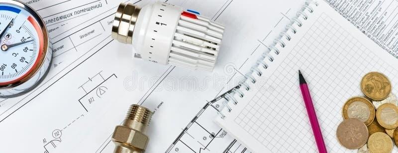 Θέρμανση εφαρμοσμένης μηχανικής Θέρμανση έννοιας Πρόγραμμα της θέρμανσης για το σπίτι στοκ εικόνες