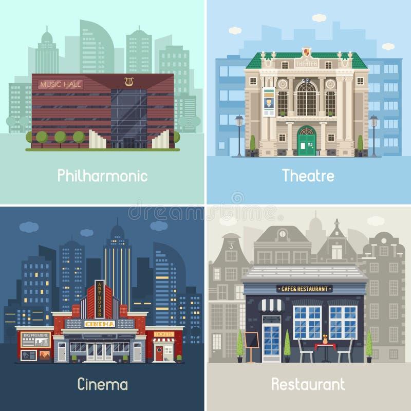 Θέσεις και κτήρια πόλεων ψυχαγωγίας απεικόνιση αποθεμάτων