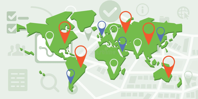 Θέσεις παγκόσμιων χαρτών ελεύθερη απεικόνιση δικαιώματος