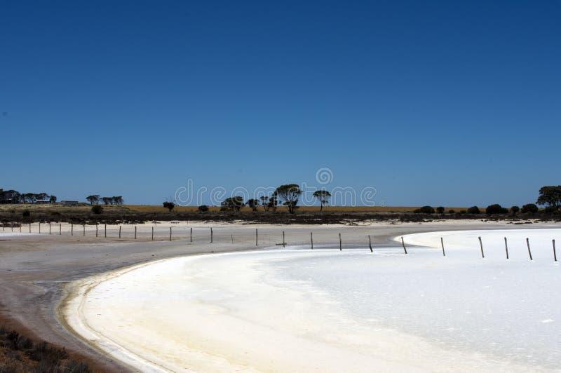 Θέσεις φρακτών μέσω της αλατισμένης λίμνης μεταξύ Hyden και του Άλμπανυ, WA, Αυστραλία στοκ φωτογραφίες