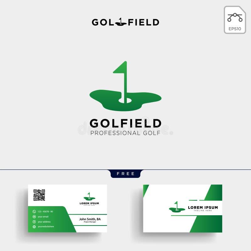 θέση γκολφ ή σχέδιο προτύπων και επαγγελματικών καρτών λογότυπων χαρτών διανυσματική απεικόνιση
