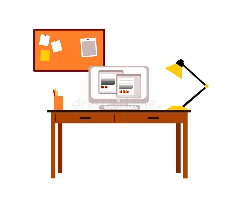 Θέση εργασίας για έναν σπουδαστή ή έναν δημιουργικό εργαζόμενο στο σπίτι ελεύθερη απεικόνιση δικαιώματος
