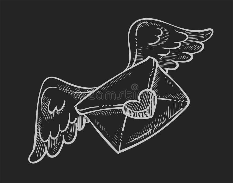 Θέση ημέρας βαλεντίνων ή επιστολή αγάπης ταχυδρομείου στο φάκελο με τα φτερά ελεύθερη απεικόνιση δικαιώματος