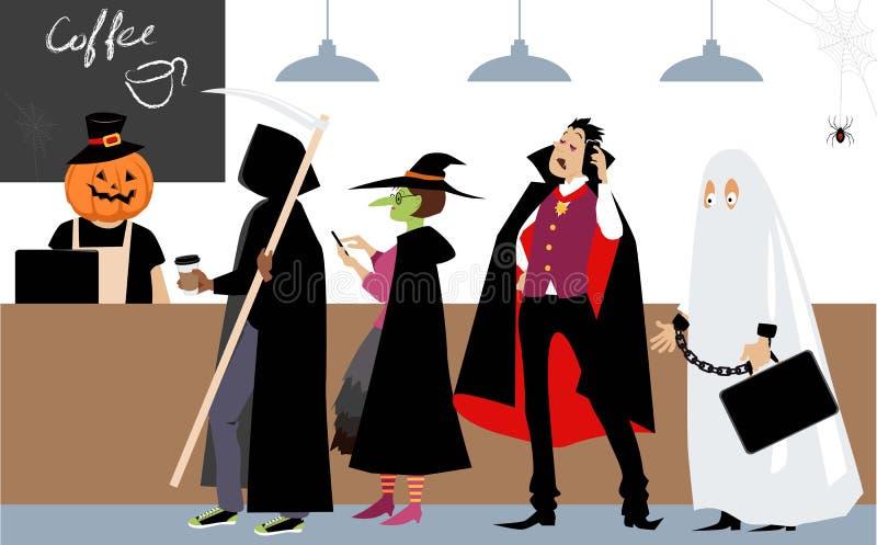 Θέση καφέ στο χρόνο αποκριών ελεύθερη απεικόνιση δικαιώματος