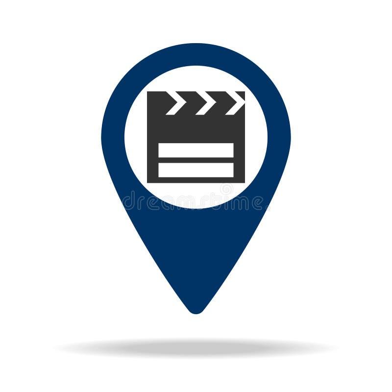 θέση κινηματογράφων στο μπλε εικονίδιο καρφιτσών χαρτών Στοιχείο του σημείου χαρτών για την κινητούς έννοια και τον Ιστό apps Εικ διανυσματική απεικόνιση