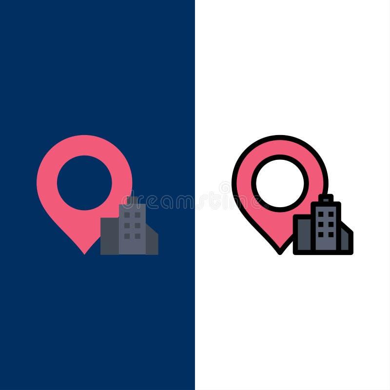 Θέση, κτήριο, εικονίδια ξενοδοχείων Επίπεδος και γραμμή γέμισε το καθορισμένο διανυσματικό μπλε υπόβαθρο εικονιδίων απεικόνιση αποθεμάτων