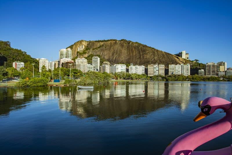 Θέση πολυτέλειας Ροζ βαρκών του Κύκνου Θέση Lagoa Rodrigo de Freitas στη Βραζιλία, πόλη του Ρίο ντε Τζανέιρο στοκ φωτογραφία με δικαίωμα ελεύθερης χρήσης