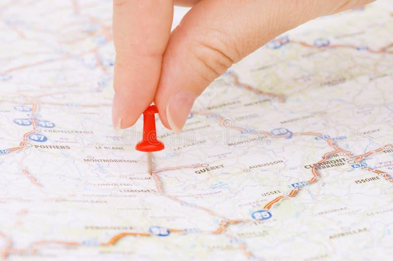 θέση που χαρακτηρίζει pushpin τ&omi στοκ φωτογραφία