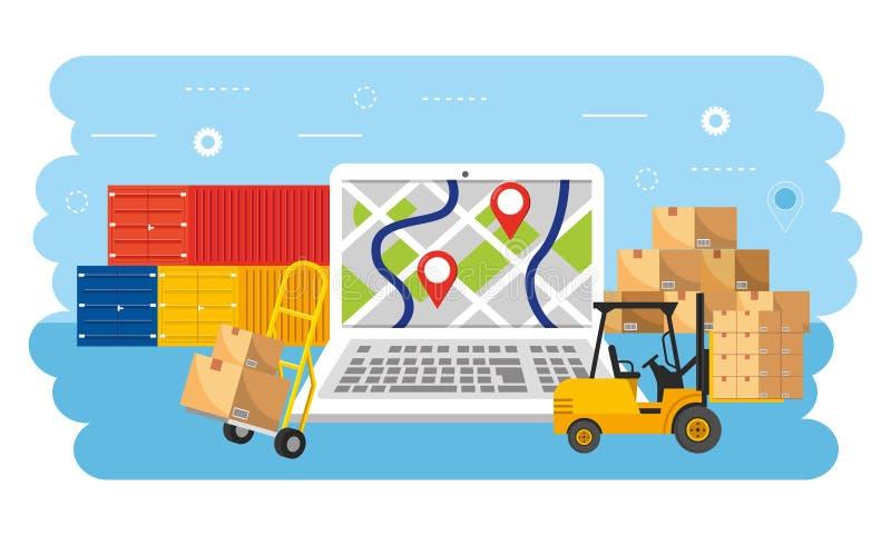 Θέση ΠΣΤ lap-top με τα εμπορευματοκιβώτια και τις συσκευασίες κιβωτίων διανυσματική απεικόνιση