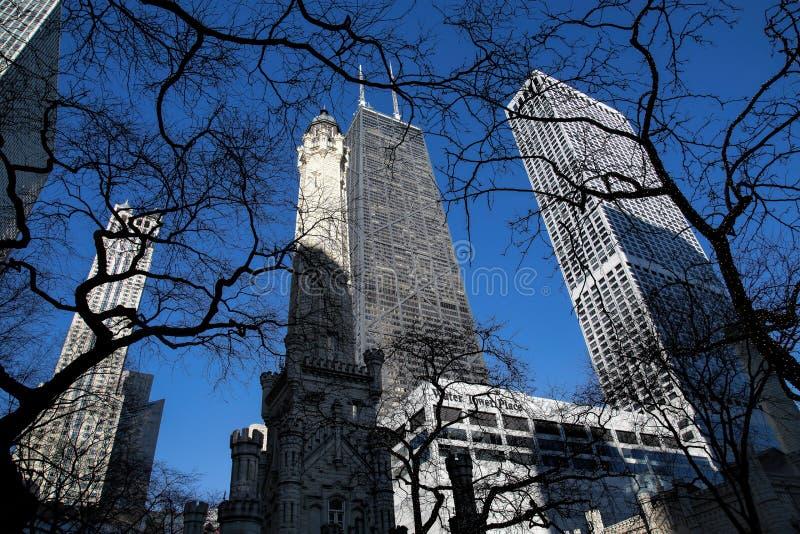 Θέση πύργων νερού στο Magnificent Mile στο Σικάγο στοκ φωτογραφίες με δικαίωμα ελεύθερης χρήσης