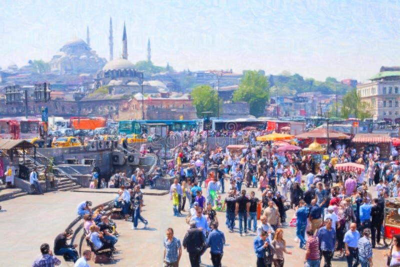 Θέση της Ιστανμπούλ κοντά στη γέφυρα Galata στοκ φωτογραφία