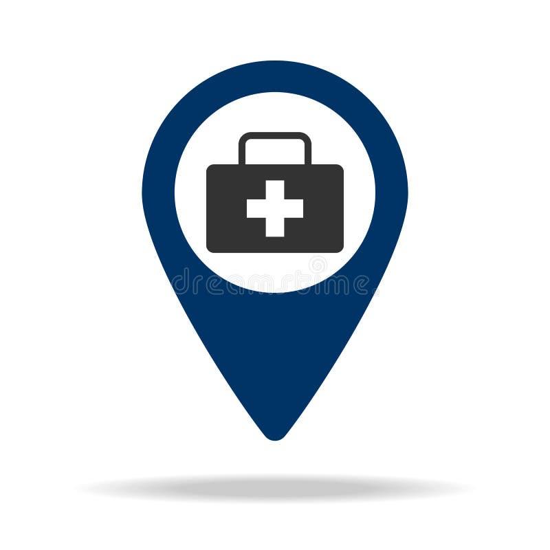 θέση φαρμακείων στο μπλε εικονίδιο καρφιτσών χαρτών Στοιχείο του σημείου χαρτών για την κινητούς έννοια και τον Ιστό apps Εικονίδ ελεύθερη απεικόνιση δικαιώματος