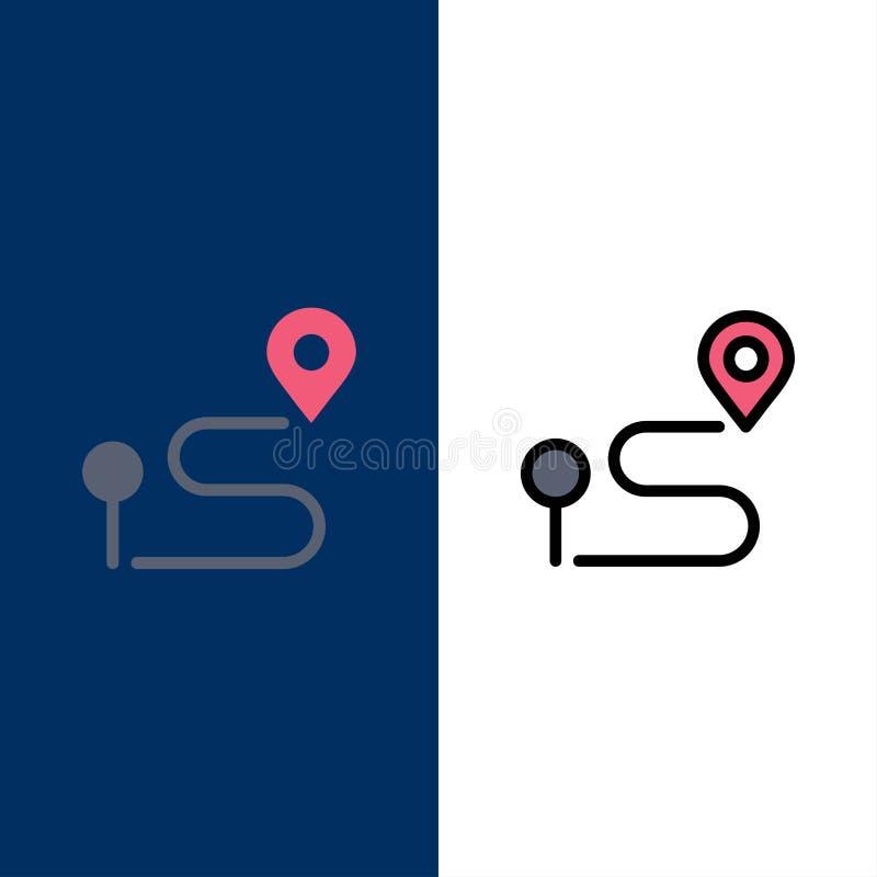 Θέση, χάρτης, ναυσιπλοΐα, εικονίδια καρφιτσών Επίπεδος και γραμμή γέμισε το καθορισμένο διανυσματικό μπλε υπόβαθρο εικονιδίων ελεύθερη απεικόνιση δικαιώματος