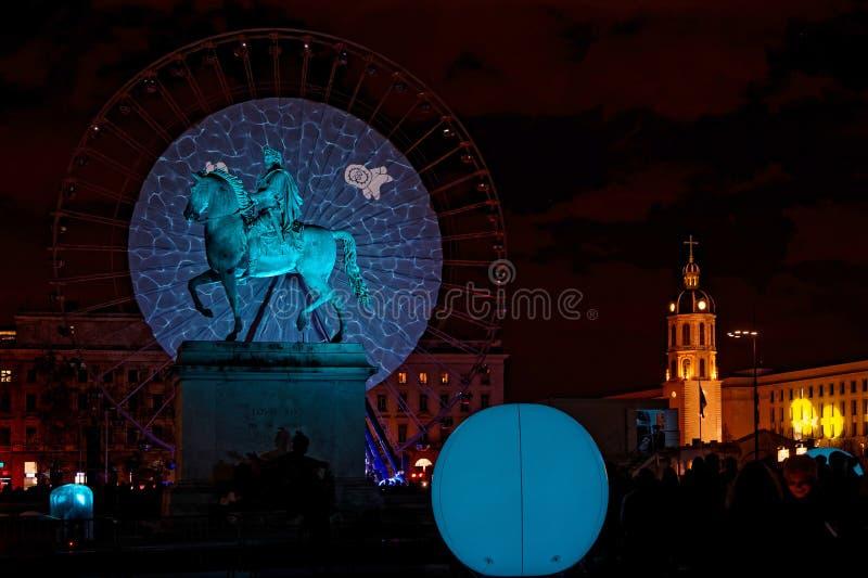 Θέση Bellecour κατά τη διάρκεια του φεστιβάλ των φω'των στοκ φωτογραφία με δικαίωμα ελεύθερης χρήσης