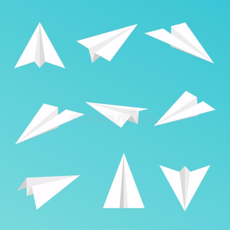 Θέστε ένα απλό εικονίδιο αεροπλάνων εγγράφου διανυσματική απεικόνιση
