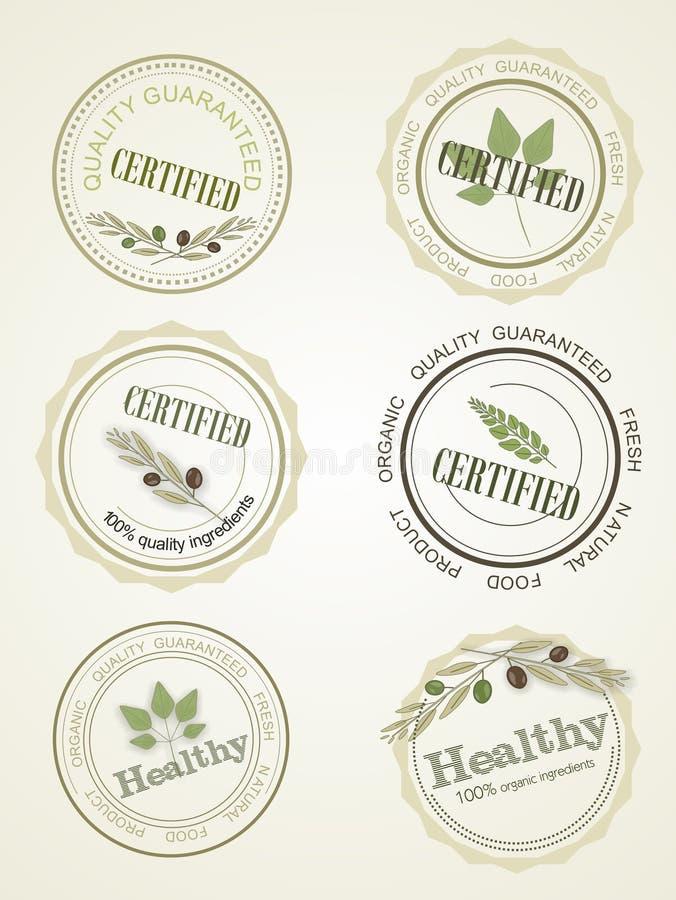Θέστε το λογότυπο για ένα πιστοποιητικό της υγιεινής διατροφής, διάνυσμα διανυσματική απεικόνιση