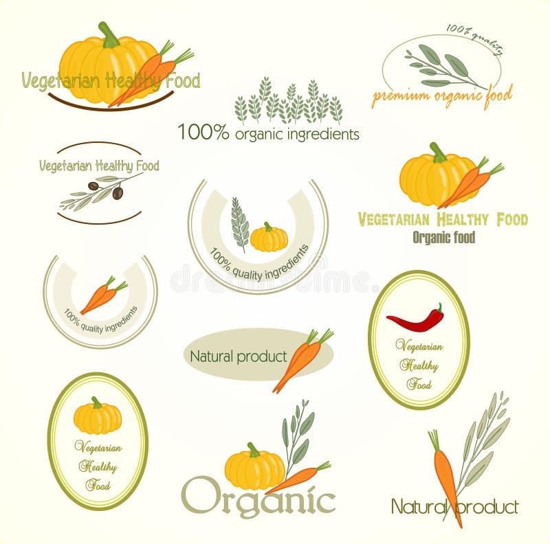 Θέστε το λογότυπο των χορτοφάγων τροφίμων, διάνυσμα διανυσματική απεικόνιση