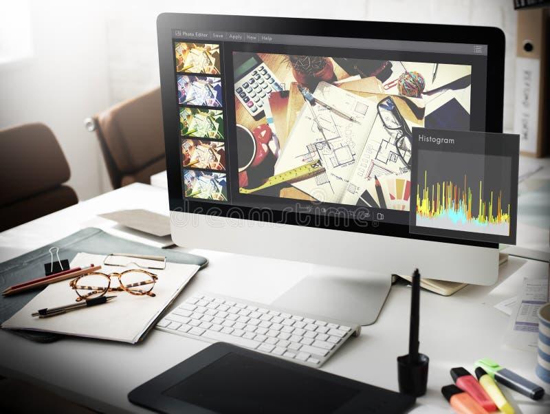 Θέτοντας έννοια ιστογράμμων συντακτών φωτογραφιών στοκ φωτογραφία