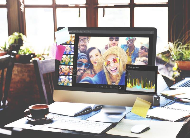 Θέτοντας έννοια ιστογράμμων συντακτών φωτογραφιών στοκ φωτογραφία με δικαίωμα ελεύθερης χρήσης