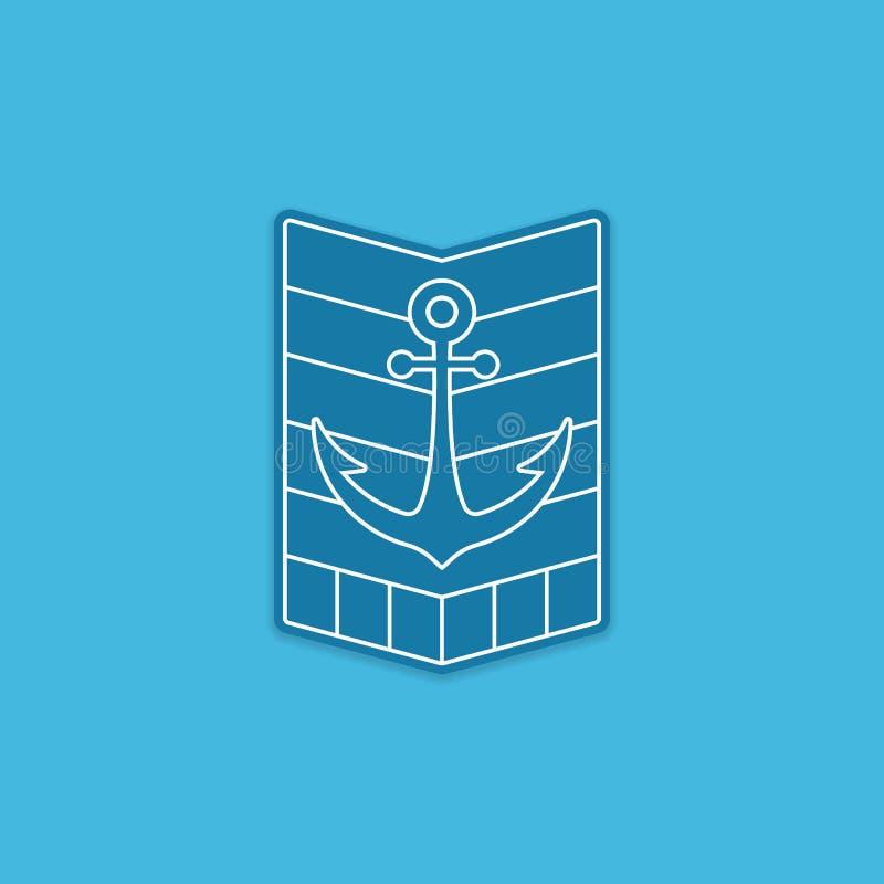 Θαλάσσια αυτοκόλλητη ετικέττα λογότυπων διακριτικών εμβλημάτων αγκύρων σκαφών monoline τέχνης γραμμών διανυσματική απεικόνιση