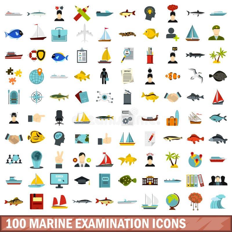 100 θαλάσσια εικονίδια εξέτασης καθορισμένα, επίπεδο ύφος διανυσματική απεικόνιση
