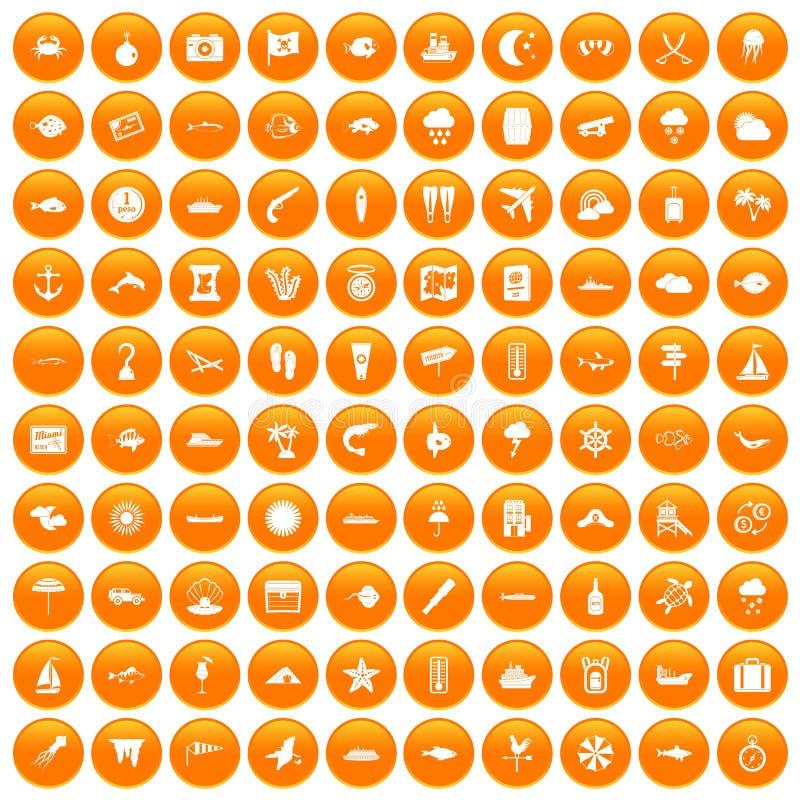 100 θαλάσσια εικονίδια περιβάλλοντος καθορισμένα πορτοκαλιά ελεύθερη απεικόνιση δικαιώματος