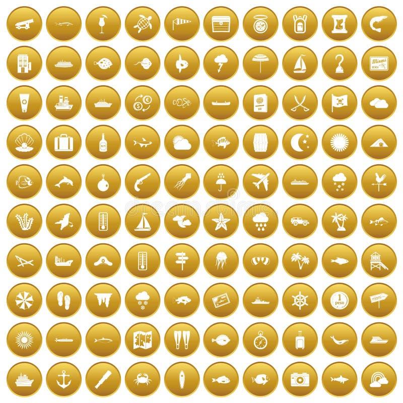 100 θαλάσσια εικονίδια περιβάλλοντος καθορισμένα χρυσά απεικόνιση αποθεμάτων