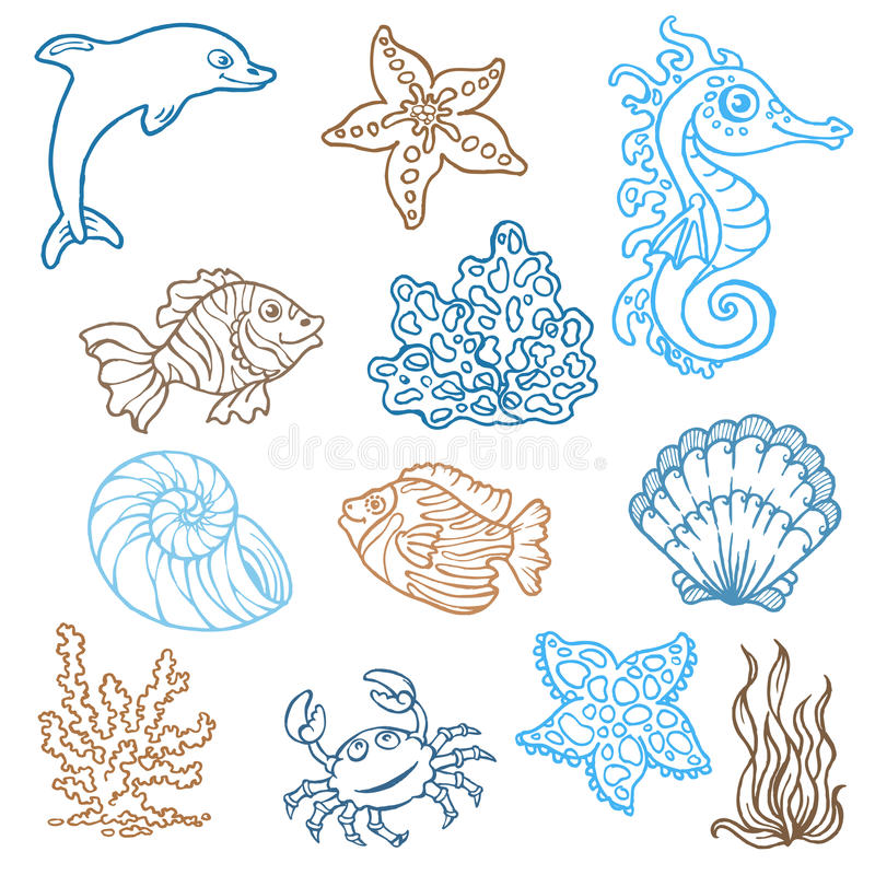 Θαλάσσια ζωή doodles ελεύθερη απεικόνιση δικαιώματος