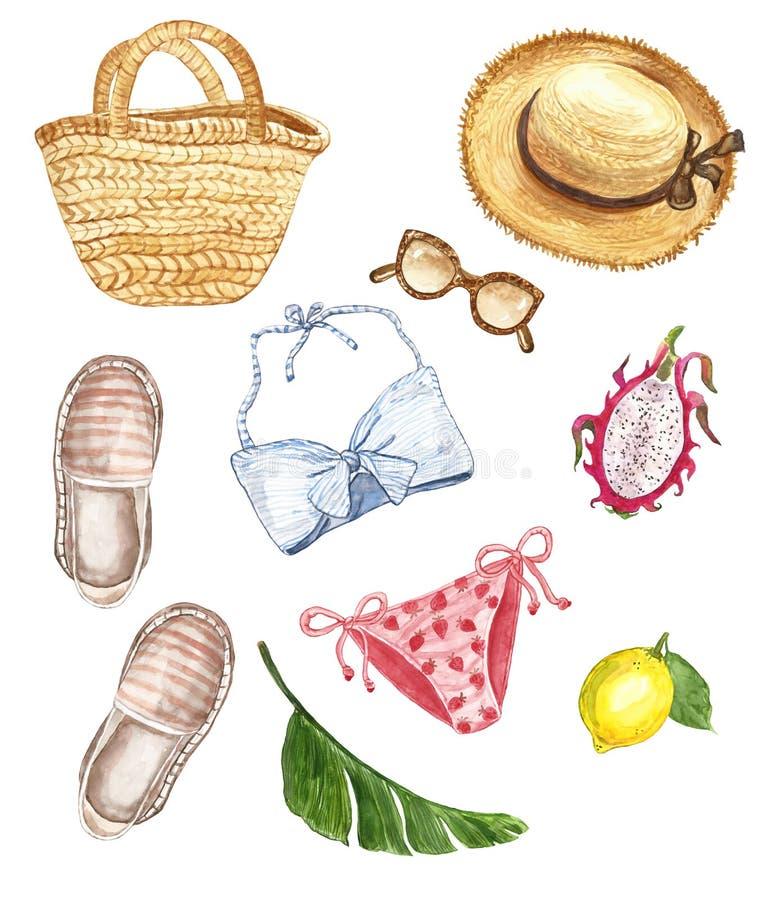 Θαλάσσια παραλία Watercolor που τίθεται με το μαγιό, τις εσπαντρίγιες, τα γυαλιά ηλίου, το καπέλο αχύρου, την τσάντα ινδικού καλά απεικόνιση αποθεμάτων