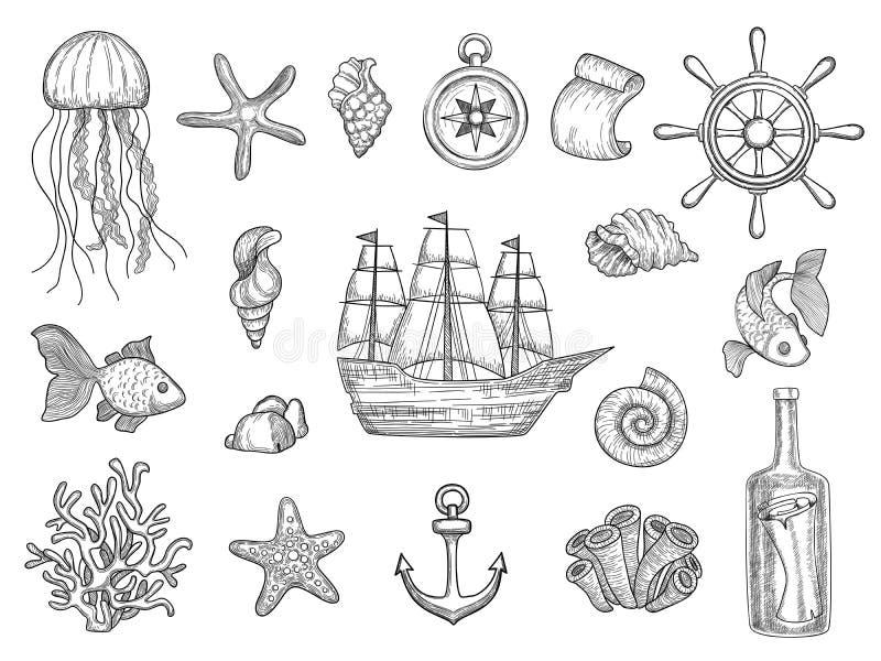 Θαλάσσια σύμβολα Τα ψάρια στέλνουν sailboat συμβόλων βαρκών κοχυλιών την ωκεάνια διανυσματική ναυτική συλλογή διανυσματική απεικόνιση