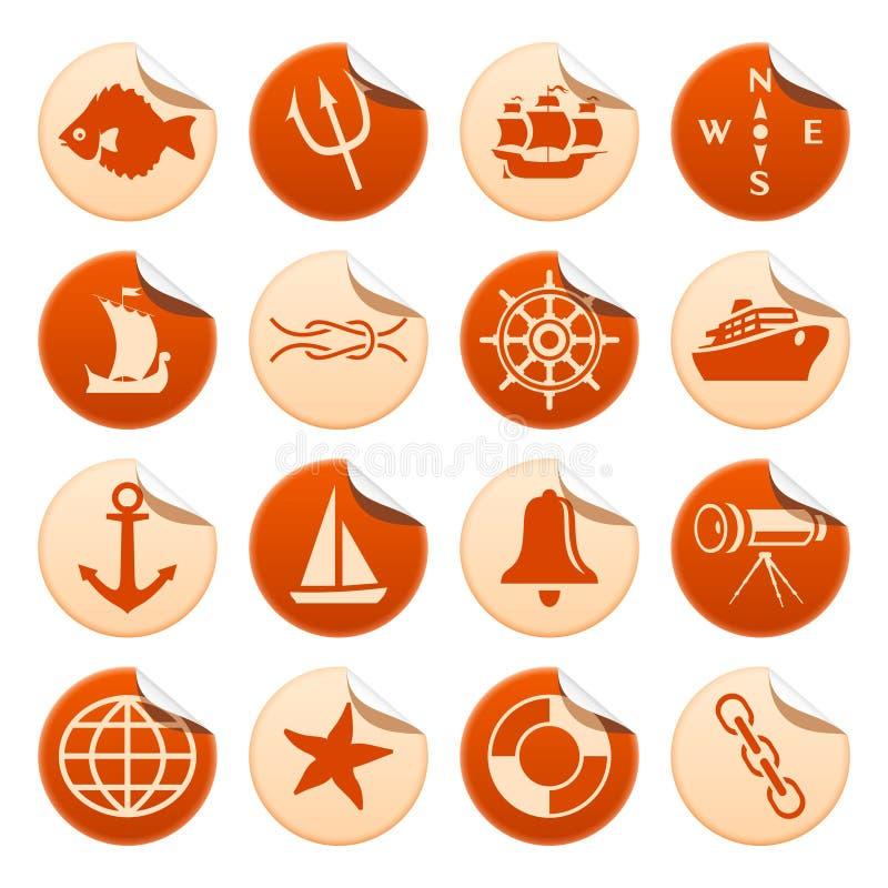 θαλάσσιες αυτοκόλλητ&epsi διανυσματική απεικόνιση