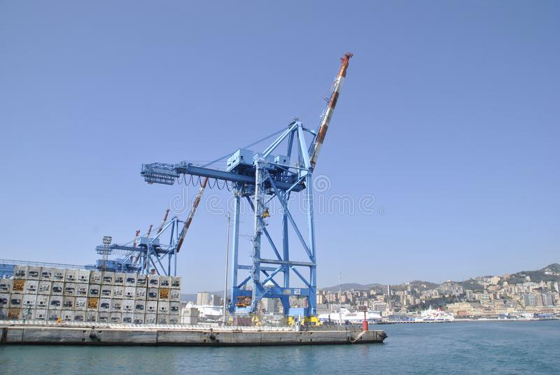 Θαλάσσιοι γερανοί στο λιμάνι της Γένοβας στοκ εικόνα