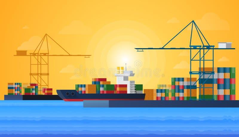 Θαλάσσιος λιμένας φορτίου με την πόλη σκαφών φορτίου φορτίου και γερανών λιμενικών λιμένων επίσης Διανυσματικό επίπεδο σχέδιο απεικόνιση αποθεμάτων