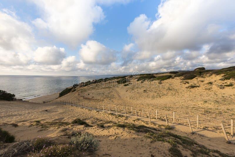 """Θαλάσσιος περίπατος στους αμμόλοφους άμμου της όμορφης παραλίας Scivu - η πράσινη ακτή """"πλευρά Verde """", Σαρδηνία, Ιταλία στοκ φωτογραφία με δικαίωμα ελεύθερης χρήσης"""