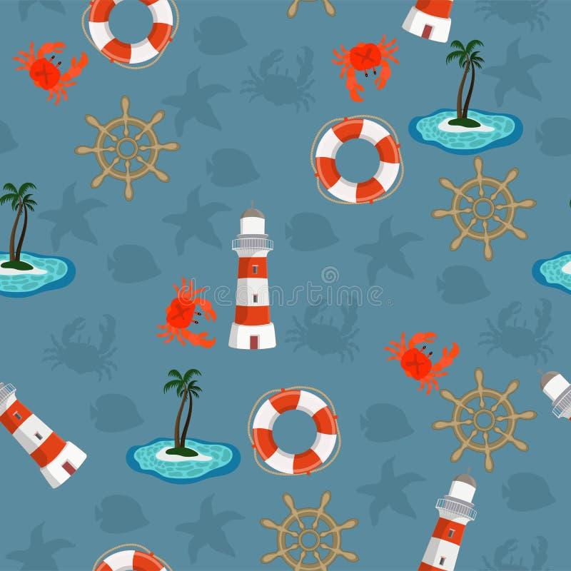 Θαλάσσιο άνευ ραφής σχέδιο για την ταπετσαρία, το λεύκωμα αποκομμάτων και άλλο σχέδιο r απεικόνιση αποθεμάτων